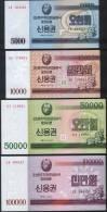 Korea North SET - 5000 5.000 10000 10.000 50000 50.000 100000 100.000 Won 2003 - UNC - Corea Del Nord