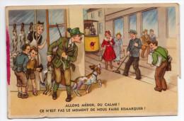 Humour-1954--Chasse-chasseur,chien-Allons Médor Du Calme! .. 14 X 9 N°53772/2  éd Colorprint--cachet Militaire - Humoristiques