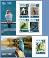 slm14705ab Solomon Is. 2014 Kingfishers birds 2 s/s