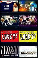 8 Verschiedene Prepaid Card Telefonkarten - 2 X Lucky!  -  2 X Stamp  - Quest  -  Lycatel  -  Ortel  (3) - Telefonkarten