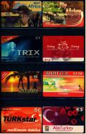 8 Verschiedene Prepaid Card Telefonkarten  -  Alo Turkey  -  TRIX  -  Fly Africa  -  TÜRKstar  -  Sunrise  (5) - Télécartes