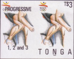 Tonga 1992 Imperf Plate Proof Pair With Progressive Colour - Olympic Games - Cycling - Ete 1992: Barcelone