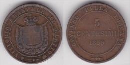 ITALIE - TOSCANE :  5 CENTESIMI 1859 Bronze (voir Scan) - Toscana