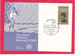 Olympischer Fakellauf Munchen 1972, Offizielle Sonderkarte, Germany, Posted With Stamp, L23. - [7] Federal Republic