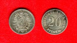 ALLEMAGNE - DEUTSCHLAND - GERMANY - 20 PFENNIG 1874 B - [ 2] 1871-1918 : German Empire