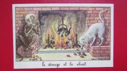 CPA    Illustrateur - CALVET-ROGNIAT - LE SINGE ET LE CHAT - J. DE LA FONTAINE    /3639 - Illustrators & Photographers