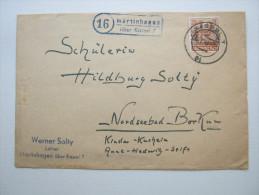 1948,  Martinhagen über Kassel  , Landpoststempel Auf Beleg - Bizone