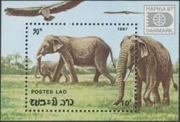 """LAOS Bloc N°96 ** BF Eléphants , """"Hafnia 87"""" 1987 , Elephants  Sheet SC # 812 MNH"""