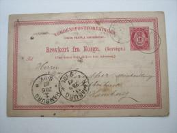 1887 ,  HMRFST  - HAMBURG , Schiffstempel     , Klarer Stempel Auf Karte - Norwegen
