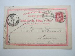 1890 , CHRA - Bergen , Schiffstempel     , Klarer Stempel Auf Karte - Norwegen