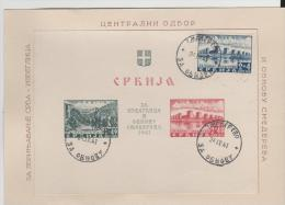 SERBIEN -  Blöcke 1 + 2 Auf Offiziellem Sonderblatt (2) Mit Stempel Vom  24. Sept. 1941 - Serbien