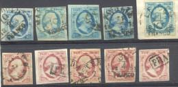 _V653: 5x N° 1 & 5x N° 2...globaal Lot Van In De Tijd Vergaarde Zegels... Met Indicatie Van Plaat Of Types Van Enkele... - Periode 1852-1890 (Willem III)