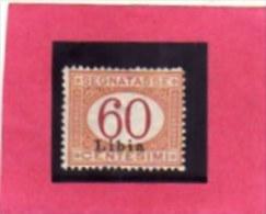 LIBIA 1915 SEGNATASSE POSTAGE DUE TASSE CENT. 60 CENTESIMI MNH - Libya