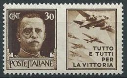 1942 REGNO PROPAGANDA DI GUERRA 30 CENT MNH ** - T81-3 - 1900-44 Victor Emmanuel III.