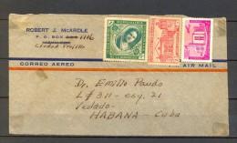 1941 REPÚBLICA DOMINICANA, FRONTAL DE SOBRE CIRCULADO ENTRE CIUDAD TRUJILLO Y LA HABANA, CORREO AÉREO - Dominican Republic