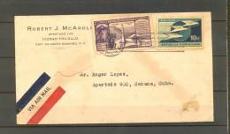 1937 REPÚBLICA DOMINICANA, SOBRE CIRCULADO ENTRE CIUDAD TRUJILLO Y LA HABANA, CORREO AÉREO, RODILLO AL DORSO - Dominican Republic