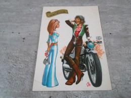Carte  De  Saint Nicolas Representant Un Garçon Avec Sa Moto Et Une Jeune Fille - Other