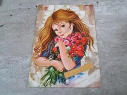 Carte  De  Saint Nicolas  Representant Une  Jeune Fille Avec  Des  Fleurs - Saisons & Fêtes