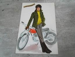 Carte  De  Saint Nicolas  Representant Un Jeune Homme  Avec  Sa Moto - Saisons & Fêtes