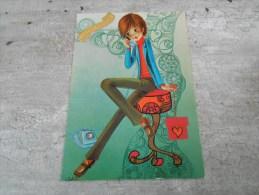 Carte   Representant Une Jeune  Femme Au Telephone - Saisons & Fêtes