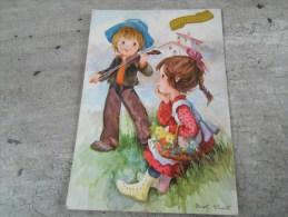 Carte   Representant Un Garçon Jouant  Du Violon Devant Une Petite Fille - Saisons & Fêtes