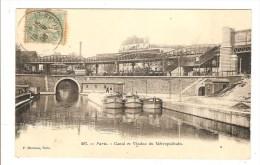PARIS - SEINE - CANAL ET VIADUC DU METROPOLITAIN - PENICHE - District 19