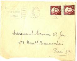 LPU7 - LANGEVIN EN PAIRE VERTICALE SUR LETTRE DE DECEMBRE 1948 - France