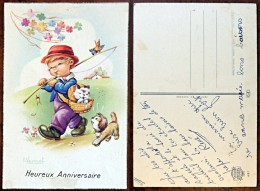 CP N° 487 - Heureux Anniversaire - I. Vernet - Chien Chat Oiseau Enfant Pêcheur - Autres Illustrateurs