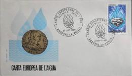 ANDORRE - ENVELOPPE 1er JOUR 1969 - Charte Européenne De L'Eau - Andorre-la-Vieille 27 Sept.1969 - Très Bon état - - FDC