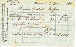 MONTREUX-2.05.1888- RECEPISSE-DOS AVEC CATALOGUE MARCH.ENTR. JEAN ROD-VEVEY - Suisse