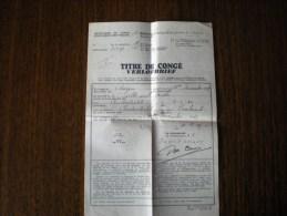 Titre De Congé 1er Régiment Grenadiers, Du 16 Au 20/12/1939 - Dokumente