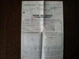 Titre De Congé 1er Régiment Grenadiers, Du 18 Au 21/11/1939 - 1939-45