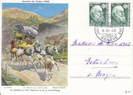 JOURNEE DU TIMBRE 1942-DILIGENCE-TOP,COMME NEUVE-6.12.42.TEXTEFRANCAIS .C=80.-- - Svizzera