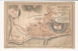 1901´s  Color Plan Of  ALICANTE  Alacant  Alacantí  Comunidad Valenciana Espana - Landkarten