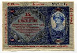 """Autriche Austria Österreich """"14th Austrian Lottery"""" 1926 """" KLASSENLOTTERIE """" - Autriche"""