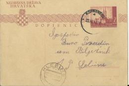 CROATIA   --  NDH   ---   NEZAVISNA DRZAVA HRVATSKA   ---  DOPISNICA  --  KOPRIVNICA  -  HLEBINE   ---   1943. - Kroatien