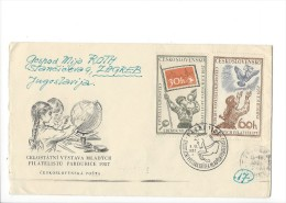 11710 - FDC Celostatni Vystava Mladych Filatelistu Pardubice 08.06.1957 Pour Zagreb - FDC