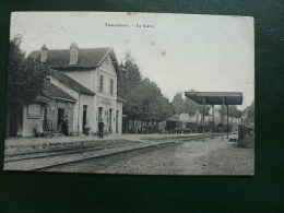 MEUSE ,* VAUCOULEURS - La Gare .*,pubs Plaques Chicorée Arlatte & Guérin-Boutron. 1914 - Frankrijk