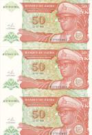 Zaïre - Lot De 6x Cinquante Nouveau Makuta (FDC, UNC) 1993 (dont Numéro Qui Se Suivent) - Zaïre