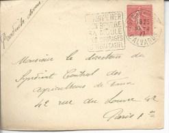 """Devt Lettre Daguin""""isigny Sur Mer Son Beurre Sa Moule Le Vieux Castel Sur N°199 - Marcophilie (Lettres)"""