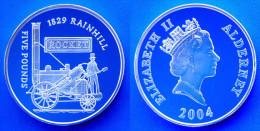 ALDERNEY 5 £ 2004 ARGENTO PROOF POUNDS 1829 RAINHILL ROCKET TRAIN ANCIENT PESO 28,28g TITOLO 0,925 CONSERVAZIONE FONDO S - Monete