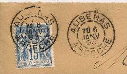 Type A, AUBENAS Ardèche Sur Enveloppe Au Type SAGE. - 1876-1898 Sage (Type II)