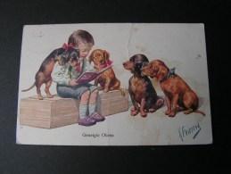 == Dackel Karte Geneigte Ohren , Sign. Feiertag  , Bug Mitte Mängel Not Perfect 1918 - Chiens
