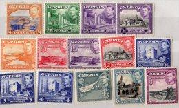 Cyprus KGVI  Set Of 14 Values To 9 Piastres MLH - Cyprus (...-1960)