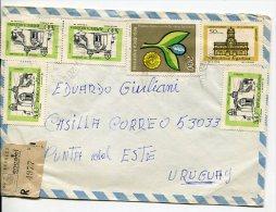 ENVELOPE SOBRE STAMPS COLLAGE CIRCULEE CIRCULADA 1979 MONTEVIDEO URUGUAY GECKO - Uruguay