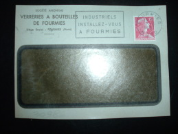 DEVANT L.TP MARIANNE DE MULLER 15F OBL.MEC.8-6-1957 FOURMIES NORD (59) STE VERRERIES A BOUTEILLES DE FOURMIES - Advertising
