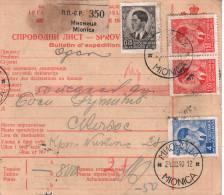 Yugoslavia Bulletin D'expedition 1940 Mionica To Skopije - 1931-1941 Königreich Jugoslawien