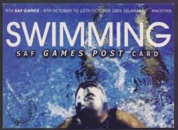 PAKISTAN SAF GAMES Pre Stamped POSTCARD Stationery 2001 Swimming Sports, Birds **