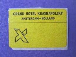 HOTEL MOTEL PENSION KRASNAPOLSKY MINI AMSTERDAM HOLLAND NETHERLANDS TAG DECAL STICKER LUGGAGE LABEL ETIQUETTE AUFKLEBER - Hotel Labels
