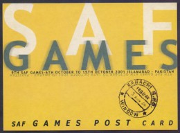 PAKISTAN SAF GAMES Pre Stamped POSTCARD Stationery 2001 Sports, Birds With Handstamp Rs.10 - Pakistan